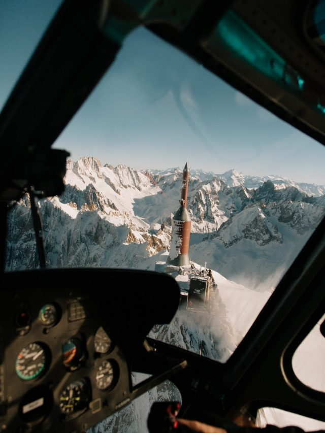 L'Aiguille du Midi from the helicopter