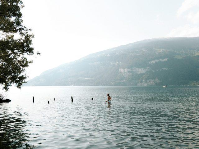 Swimming in Thun lake