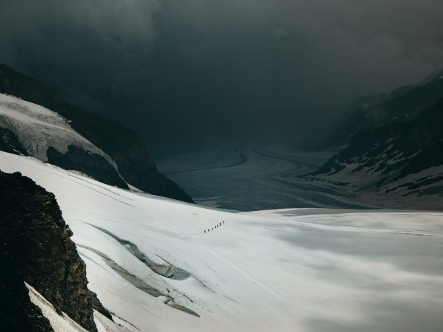 People on the Aletsch Glacier