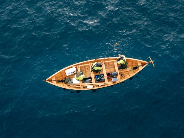 Fishing boat from the top