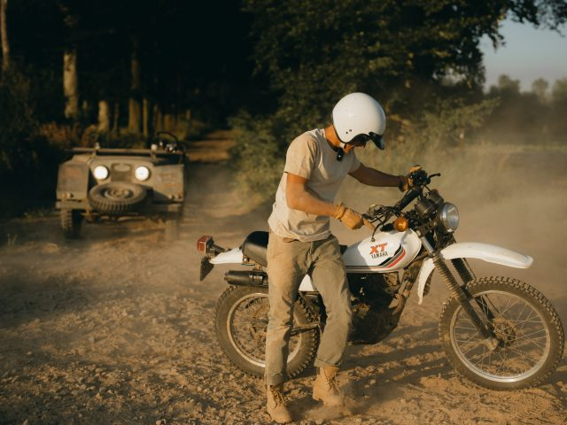 Dirt bike in the dust