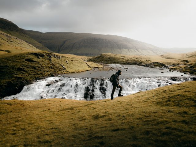 Stream and hiker