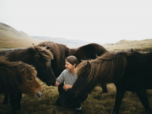 Woman with ponies